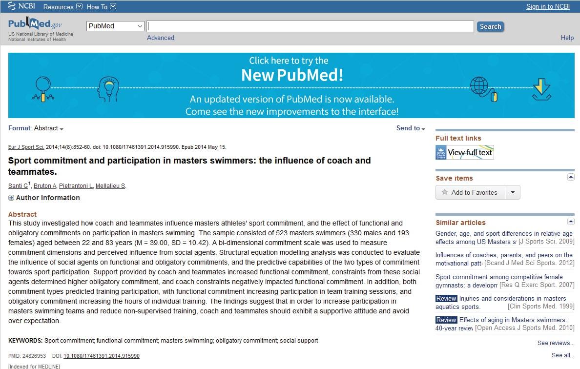 Pubblicazione scientifica Nuoto Mania